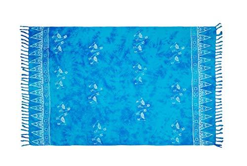 MANUMAR Mujer Pareo opaco, toalla de playa grandes Sarong en azul claro con motivo mariposa, XXL sobredimensionado 225x115cm, toalla vestido de verano, bikini vestido de playa