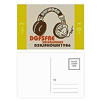 茶色のヘッドセットのロック・ミュージック・クレイジー 友人のポストカードセットサンクスカード郵送側20個