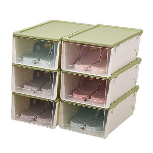 NYKK Zapatero Caja de Almacenamiento y clasificación de Zapatos portátil apilable, con un Juego de Puertas Transparentes de 6, Adecuado for Calzado Deportivo, Tacones Altos Armario Zapatero