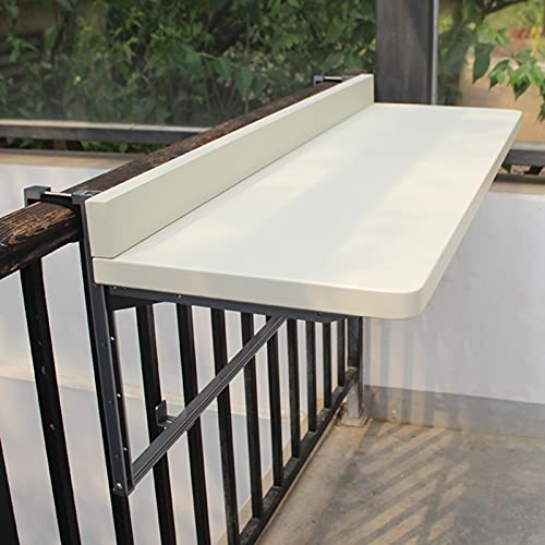 KKJKK Blanco Negro Mesa de Balcón Ajustable Mesa de Balcón Colgante Plegable Balcón Mesa de Barandilla Colgante Acoplable Mesa de Barandilla Exterior Montado en la Pared Jardín Mesa,Blanco,120x40cm