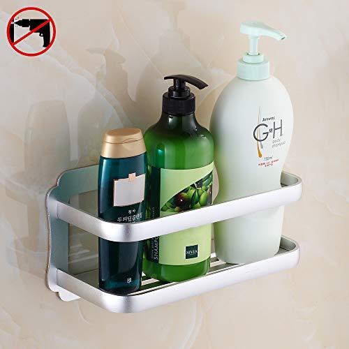 Hoomtaook Rinconera de baño Cesta triangular Bandeja para pared de ducha Adhesivo Fijación en pared sin daños para accesorios de baño y cocina (Plata)