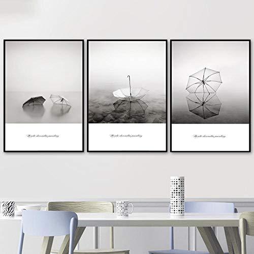 Paraplu Water Canvas Bedrukte Schilderijen Zwart Wit Mist Landschap Foto's, Woonkamer Decoratie Slaapkamer Wall Art Foto's Poster 50x70cmx3 geen Frame