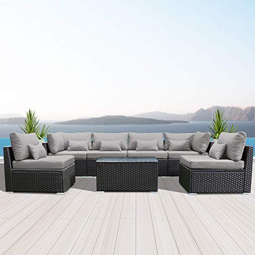 DINELI Patio Furniture Sets Modular Sectional Sofa Outdoor Wicker Patio Furniture Sets (Light Gray)