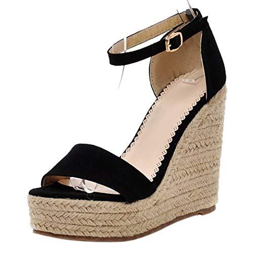 Kaizi Karzi Donna Moda Tacco Sandali Estivi con Cinturino alla Caviglia Scarpe da Sera Black Numero 34 Asiatico
