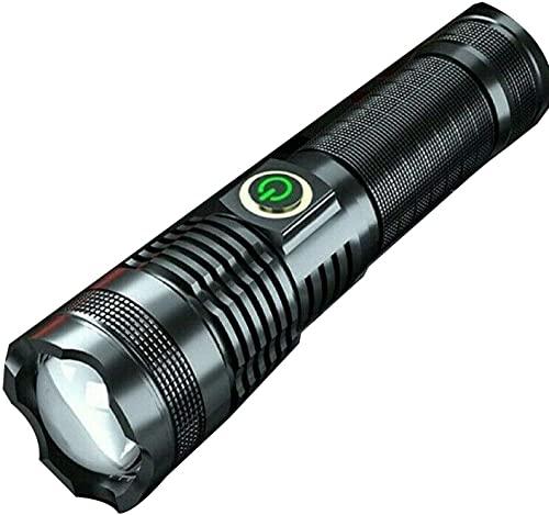 Linterna 100000 lumenes recargable xhp70 linterna LED más potente linterna con zoom USB recargable, 5 modos linterna recargable USB incluida 26650 batería perfecta para camping, senderismo