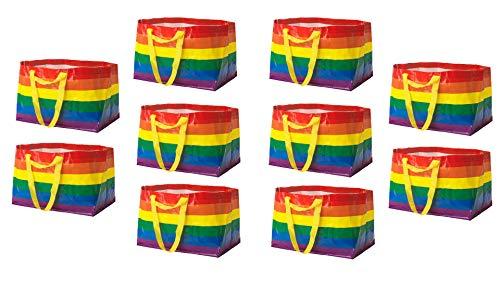 IKEA STORSTOMMA 10er Set Mehrzwecktasche. Wiederverwendbare Einkaufstasche, faltbar, für Recycling, Kleidung, Spielzeug für Babys und Kinder, große Strandtasche