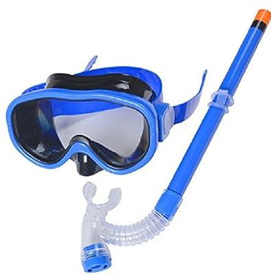 YITU Kids Silicone Scuba Swimming Swim Diving Mask Snorkel Glasses Set Anti Fog Goggles (Blue)