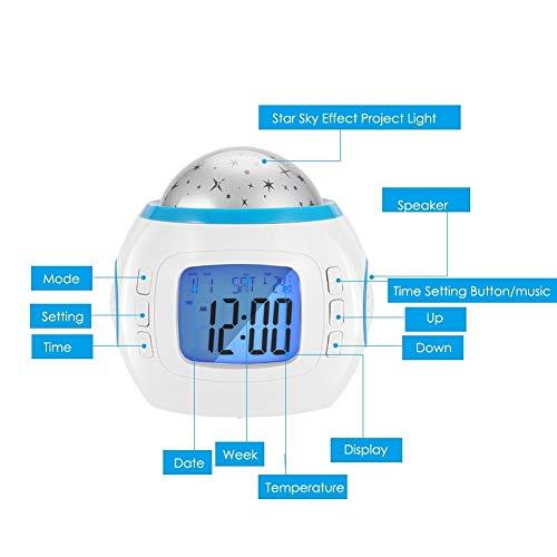 Luce For Proiettore, MAGT Portatile Con Effetto Cielo Stellato LED Lettore Musicale Luce For Proiettore Home Decor Lampada Orologio Effetto Cielo Stel