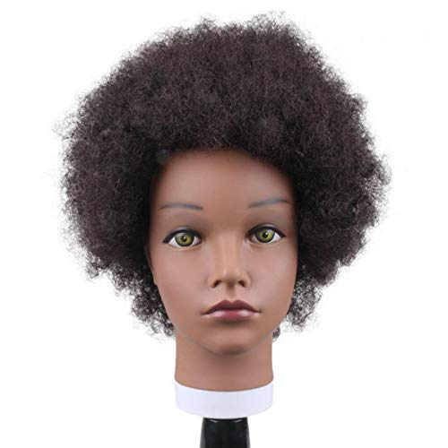 N-B Mannequin Head with Human Hair Doll for Hair Styling Braiding Curly Pre Stretched Extension Holder Manikin 8 inch And18 inch for Girls and Kids Make Up Practice and Train Cosmetology