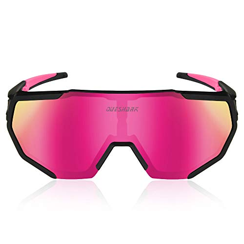 Queshark Polarisierte Radsportbrille mit 3 Wechselgläsern für Männer Frauen Laufen Fahren Angeln Golf Baseball Brillen Sonnenbrillen