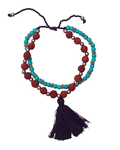 Women's Yoga Tikra Bracelet, Fashion Accessories, Rudraksha and Turquoise Beads, 2 Strand with Black Tassel, 6 cm Adjustable, Spiritual and Trendy