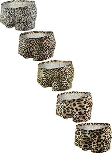iKingksy Men's Leopard Boxer Briefs Pouch Trunk Underwear Low Rise Mens Under Panties (Small, 5 Pack)