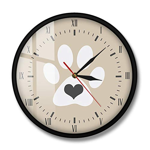 HIDFQY Corazón Gris Gato Blanco Paw Print Números Romanos Reloj de Pared Moderno Vintage Kitty Hello Kitty Lovers Decoración para...
