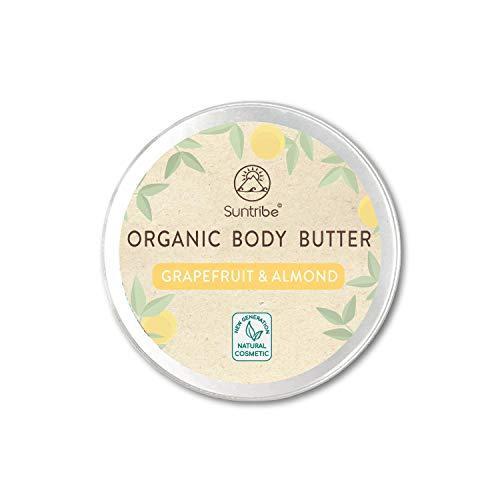 Suntribe Bio-Körperbutter GRAPEFRUIT & MANDEL – 100% Bio – 3 Inhaltsstoffe – Natürlicher Grapefruitduft – Feuchtigkeitsspendend & Belebend - Parfümfrei - Normale Haut - Mischhaut (150ml)