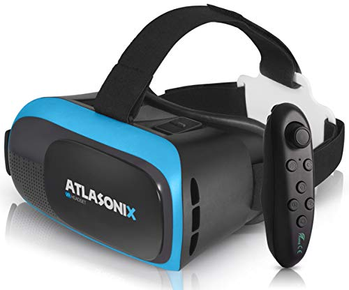 VR Headset Compatible with iPhone and Android Phones | VR Set Incl. Remote Control for Android Smartphones | 3D Virtual Reality Goggles w/Controller | Adjustable VR Glasses - Gift for Kids and Adults