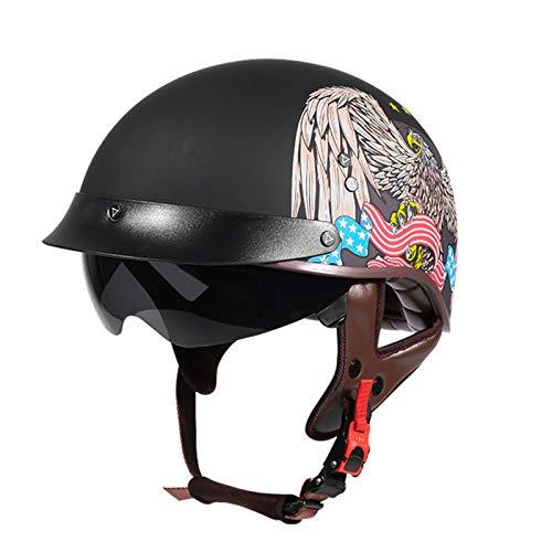 GAOZ Motor De Ciclomotor Adulto Adulto Motocicleta Medio Casco Masculina Y Femenina ECE Homologado Half Moto Cascos Helmet Casco del Viaje del Estilo Alemán Crucero Bicicleta Casco Moto