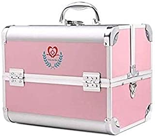 AINIYF Large-Capacity Medical Box Home Multi-Layer Medical Box Portable First Aid Box Aluminum Storage Box Medicine Box (Color : Pink)