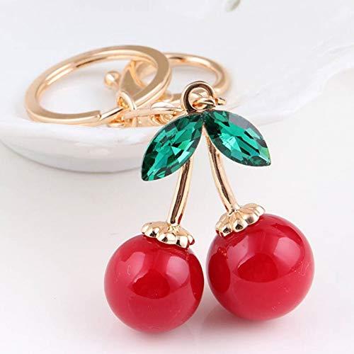 YCEOT Fashion gouden kleur sleutelhanger ketting rode kersen tas ornamenten kristal sleutelhanger sieraden sleutelhanger ring hanger