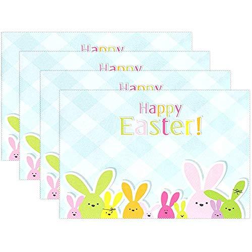 sunnee-shop Cute Bunny Rabbit Happy Easter Gingham Manteles