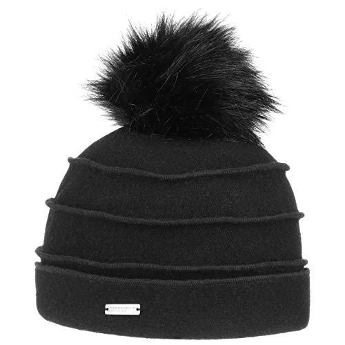 Seeberger Sukie Walkmütze mit Bommel Mütze Damenmütze Wintermütze Wollmütze Bommelmütze (One Size - schwarz)