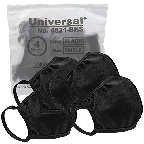 Universal 4521 Cloth Face Masks – Reusable Nose & Mouth Mask – 100% Cotton, 2 Layer, Washable, for Teens & Adults – Protects from Dust, Pollen, Pet Dander & More (Black, Medium)