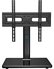 PERLESMITH Universal Swivel TV Stand-Table Top TV Stand for 32-55 inch TV-Height Adjustable TV Base with Heavy-Duty Tempered Glass Base, VESA 400x400