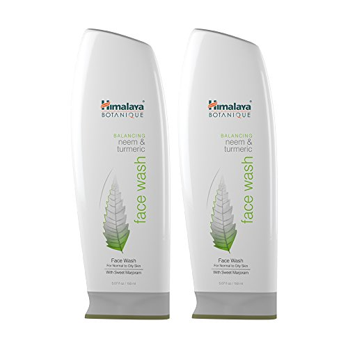 Himalaya Botanique Balancing Neem & Turmeric Face Wash, Deep Cleaning Pore Cleanser for Oily and Acne Prone Skin, 5.07 oz, 2 Pack