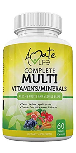 Multivitamins / Minerals Capsules with Zinc and Premium 42 Fruits and Veggies Blend for Immune Support Daily Multivitamin Capsule Antioxidant Supplement for Immunity System 60 Capsules by Amate Life