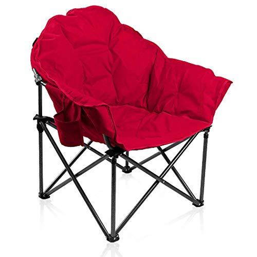 ALPHA CAMP Gepolsterter Faltbarer Campingstuhl, Klappstuhl Rund Moon Chair mit Becherhalter, Campingsessel mit Tragetasche, Ideal für Outdoor Indoor Balkon Wohnzimmer Büro, bis 160kg, Rot