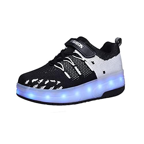 AMXSML Zapatillas con Ruedas LED Luces,Niña Luminosas Zapatos de Skateboard,7 Colores USB Carga Automática Multifunción de Skate,Negro,39EU