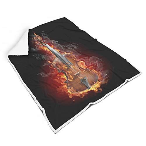 kikomia Magische Violine mit Feuer Rauch Fantasie Druck Quadratisch Flauschig Decke Magie Picknickdecke Wohnzimmerdekoration Erwachsene&Kinder White 150x200cm