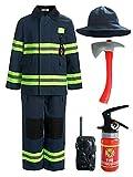 ReliBeauty Disfraz Bombero niño con Accesorios,9 años,Azul Marino