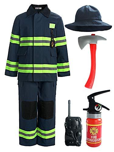 ReliBeauty Déguisement Pompier Enfant avec Accessoires de Pompier de Costume de Pompier pour Garçons et Filles,Bleu 120