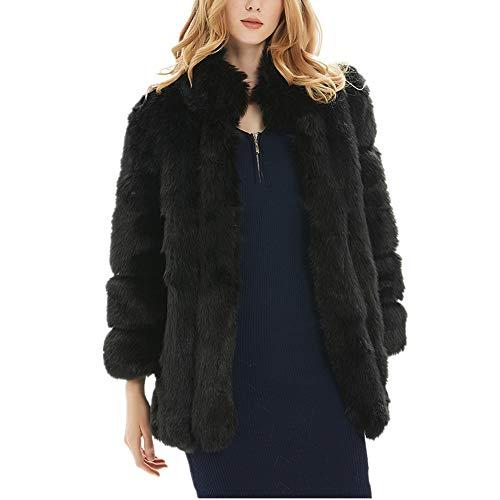 New Womens Thick Faux Fur Coat Winter Warm Parka Long Overcat Long Sleeve Stand Collar Fur Coats Jackets (XL, Black)
