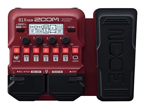 Zoom B1X FOUR Bass Guitar Multi-Effects Processor with Expression Pedal, With 70+ Built-in Effects, Amp Modeling, Looper, Rhythm Section, Tuner, Battery Powered