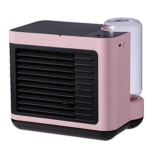 YGTMV Air Cooler Mini,Wiht 3 Velocidades Aires Acondicionados Móviles,LED Aire Acondicionado,3 En 1 Table Fan Humídrico De Aire para Seguridad del Exterior,Rosado