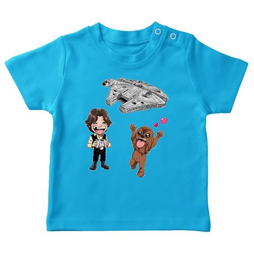 Maglietta Turchese bebè parodia Star Wars - Caricature SD di Han Solo, Chewbacca e il Falcon Millenium Mini Drone - (T-shirt di qualità premium in taglia 12 mesi - Stampata in Francia - Rif : 1096)