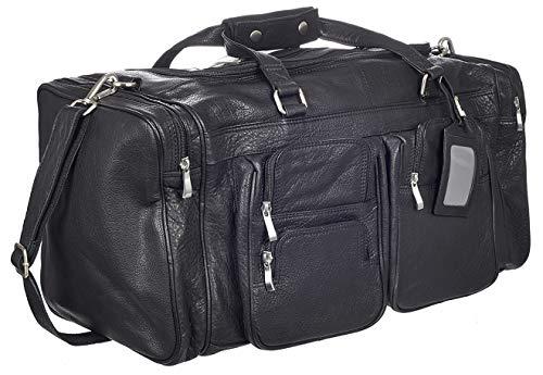 Viosi Malibu 22 Inch Genuine Leather Duffel Travel Bag Sports Gym Bag Weekender Overnight Luggage [Black]