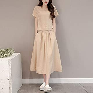 OUYAWEI 2 pcs/Set Women Summer Simple Casual Round Neck Solid Color Tops+Skirt Set