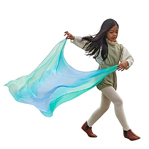 Sarah's Silks Enchanted Playsilk, 100% Silk Scarves for Kids and Toddlers, Sensory Toys   Bright Square Scarves, Montessori Waldorf Toys for Imaginative and Pretend Play - Sea