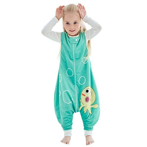 MICHLEY Baby Schlafsack mit Füßen, mädchen und Junge Schlafstrampler Vierjahreszeiten,Grün 1-3 Jahre