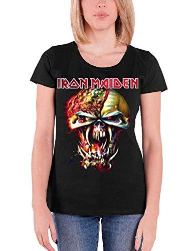 Iron Maiden Damen, T-Shirt, Final Frontier Big Head, Schwarz (Black), 36