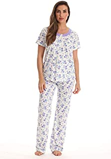 Image of A Great Deal: Short Sleeve Cotton Purple Floral Pajamas for Women - See More Colors