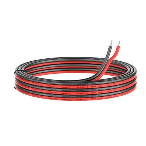 1.3mm² 16 AWG Silikon Elektrischer Draht Kabel anschließen 10 Meter [5 Meter schwarz und 5 Meter rot] Weich und flexibel aus verzinntem Kupferdraht Hohe Temperaturbeständigkeit 200 Celsius 600V