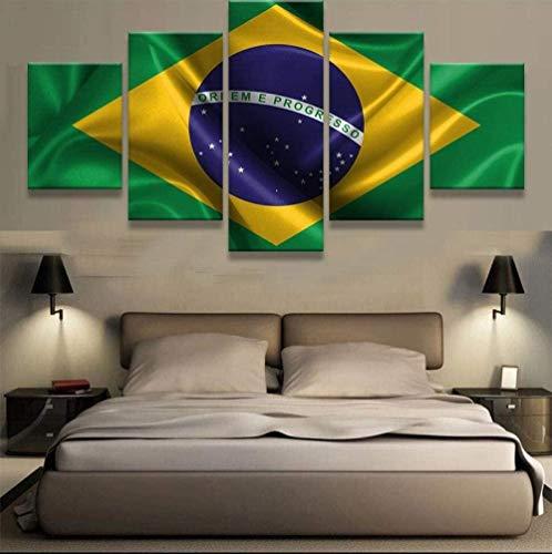 bnkrtopsu 5 Cuadro en Lienzo 5 Fotos Juntas en una Sala de Estar Dormitorio Creativo murales Decorativos y Carteles(Sin Marco) Bandera de Brasil