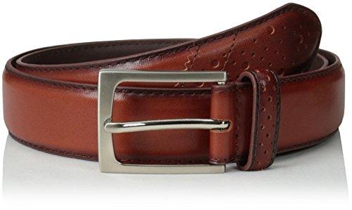 Florsheim Men's 32 Mm Full Grain Leather Wingtip Belt, Saddle Tan, 38