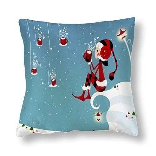 Perfecone Home Improvement - Funda de almohada de algodón con diseño de Papá Noel con diseño de reno de nariz roja y muñeco de nieve, 1 paquete de 45 x 45 cm