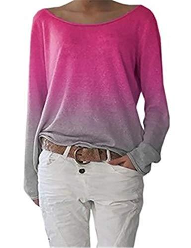 MYEDO Damen Hoodie Langarm Sweatshirts Sport Farbverlauf Pullover Bunt Outerwear