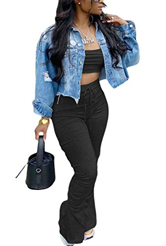 Two Piece Outfits for Women Sexy Sleeveless Tube Crop Tops + High Waist Stacked Leggings Long Pants Set Clubwear Black M