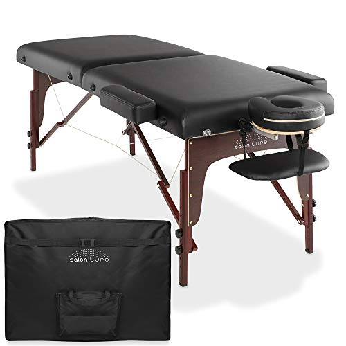 Saloniture Professional Portable Lightweight Bi-Fold Memory Foam Massage Table with Reiki Panels - Includes Headrest, Face Cradle, Armrests and Carrying Case - Black
